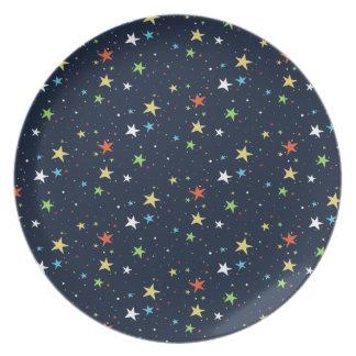 カラフルな星明かりの空 プレート