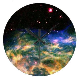 カラフルな星雲の柱時計 ラージ壁時計