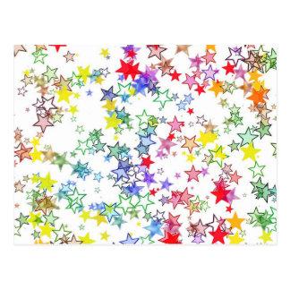 カラフルな星 はがき