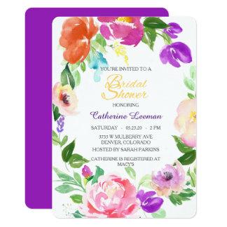 カラフルな春の花のリースのブライダルシャワーの招待 カード