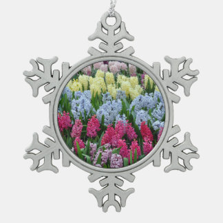 カラフルな春のhyacinth スノーフレークピューターオーナメント