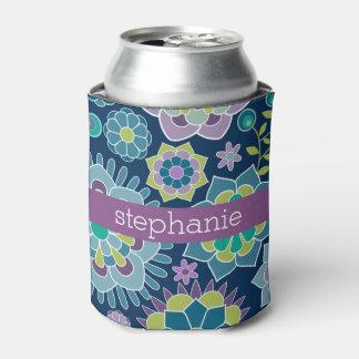 カラフルな春花パターン名前をカスタムする 缶クーラー