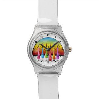 カラフルな服のアフリカの女性 腕時計