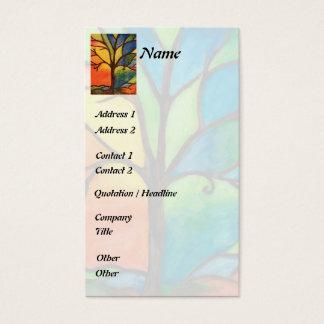 カラフルな木のステンドグラスの名刺 名刺