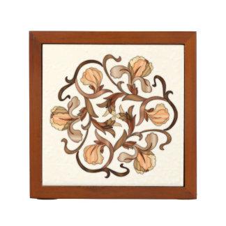 カラフルな木製の象眼細工の花のデザイン机のオルガナイザー ペンスタンド