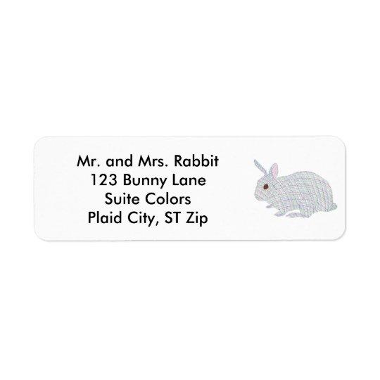 カラフルな格子縞のバニーウサギの宛名ラベル ラベル