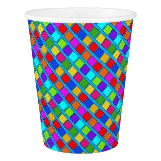 カラフルな正方形のユニークなデザイン 紙コップ