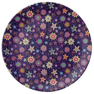 カラフルな民芸の星明かりの空 磁器プレート