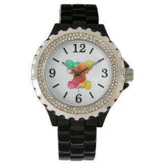 カラフルな水彩画の手描きの象 腕時計