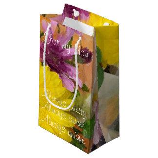 カラフルな水彩画の母の日 スモールペーパーバッグ