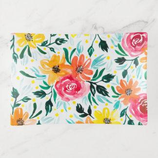 カラフルな水彩画の花のイラストレーションパターン トリンケットトレー