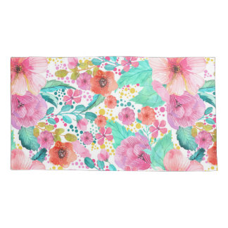 カラフルな水彩画の花のコラージュパターン 枕カバー