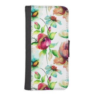 カラフルな水彩画の花の絵4 iPhoneSE/5/5sウォレットケース