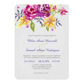 カラフルな水彩画の花束の結婚式 カード