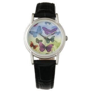 カラフルな水彩画の蝶イラストレーション ウォッチ