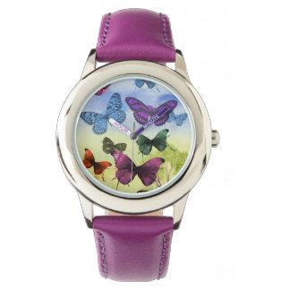 カラフルな水彩画の蝶イラストレーション リストウオッチ