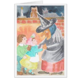 カラフルな水彩画の魔法使い及び子供の挨拶状 カード