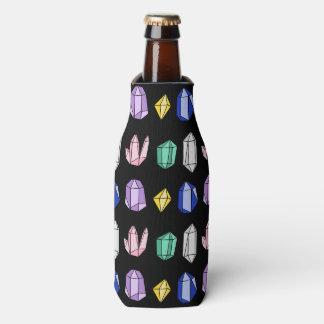 カラフルな水晶パターン黒 ボトルクーラー