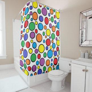 カラフルな水玉模様 シャワーカーテン