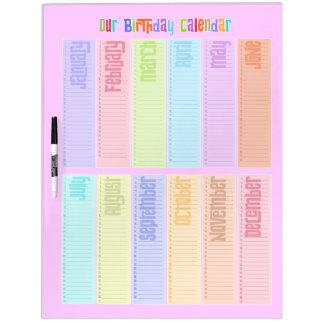 カラフルな永遠の誕生日のカレンダー ホワイトボード