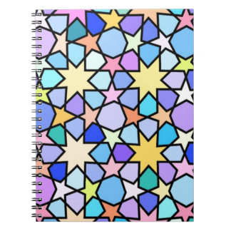 カラフルな汚れのガラス効果の星パターン ノートブック