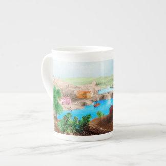 カラフルな海港場面骨灰磁器のマグ ボーンチャイナカップ