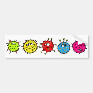 カラフルな漫画の細菌 バンパーステッカー