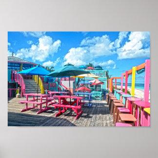 カラフルな熱帯バハマのバー兼グリル ポスター