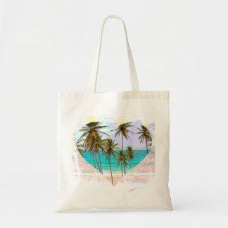 カラフルな熱帯ビーチのトートバックのハート トートバッグ