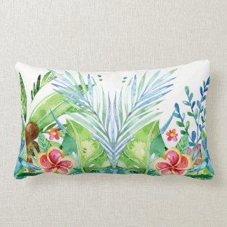 カラフルな熱帯花のデザイン ランバークッション