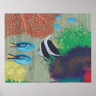 カラフルな熱帯魚の絵画ポスター プリント