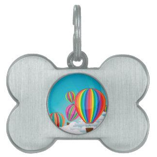 カラフルな熱気の気球 ペットネームタグ