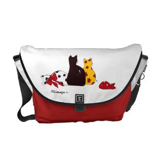 カラフルな猫のバッグ メッセンジャーバッグ