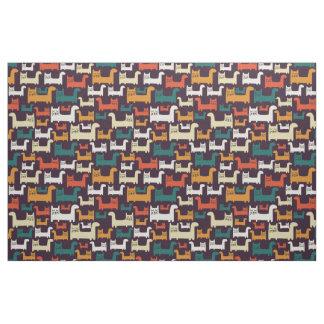カラフルな猫パターン生地 ファブリック