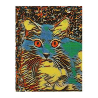 カラフルな猫 ウッドウォールアート