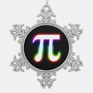 カラフルな白熱Pi記号|のギークを祝って下さい スノーフレークピューターオーナメント