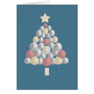 カラフルな砂ドルのクリスマスツリー(青いクレープ) カード