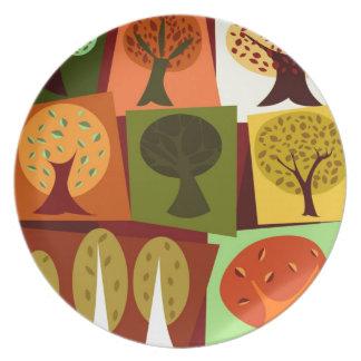 カラフルな秋の漫画の木 プレート