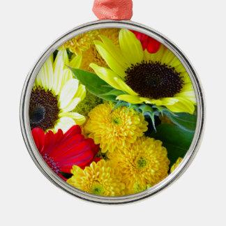 カラフルな秋の花花束 メタルオーナメント