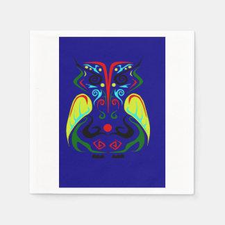 カラフルな種族の芸術のフクロウのナプキン スタンダードカクテルナプキン