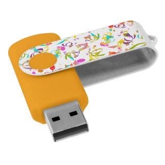 カラフルな紙吹雪のトス USBフラッシュドライブ