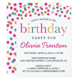 カラフルな紙吹雪の子供の誕生日のパーティの招待状 カード