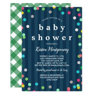 カラフルな紙吹雪-濃紺のベビーシャワー カード