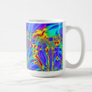 カラフルな紫色のターコイズの抽象芸術 コーヒーマグカップ