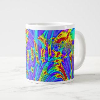 カラフルな紫色のターコイズの抽象芸術 ジャンボコーヒーマグカップ