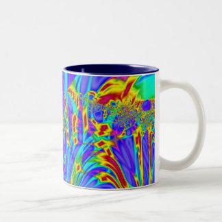 カラフルな紫色のターコイズの抽象芸術 ツートーンマグカップ