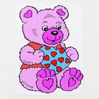 カラフルな紫色のテディー・ベア ベビー ブランケット
