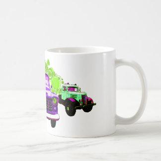 カラフルな紫色のヴィンテージのトラック コーヒーマグカップ