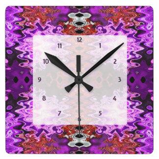 カラフルな紫色の抽象芸術 スクエア壁時計