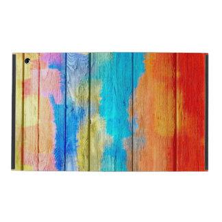 カラフルな絵画の木製のヴィンテージ#3 iPad ケース